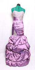 XCITE LILAC JEWELED BEADED PLEATED TAFFETA BUBBLE PROM FORMAL GOWN DRESS 10