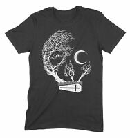 Skull With Moon and Coffin Goth Halloween Mens T-Shirt