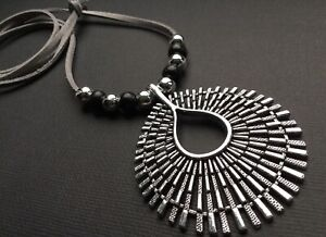 GREY Long Suede necklace with a statement Antique Silver Star Burst pendant BOHO