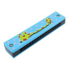 Holz Giraffen Muster Dual Reihen 32 Loch Kinder Mundharmonika Harmonika Blau GY
