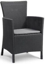 Allibert 'Iowa' Rattan Effect Outdoor Garden Dining Chair. Grey / Anthracite