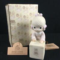 New VTG 1987 Precious Moments Figurine Sharing is Universal E-0007 Taiwan