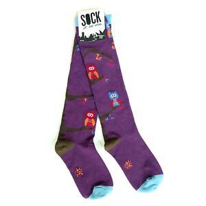 Sock It To Me 80s Gothic Roller Derby Rockabilly Punk Purple Owl Knee High Socks