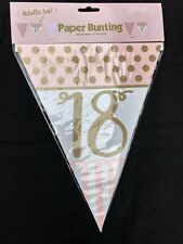 18th Birthday Age 18 Pink and Gold 12ft Flag Banner Pennant Decoration Bunting