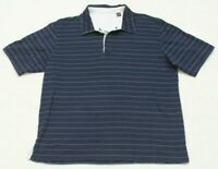 Tasso Elba Short Sleeve Blue Polo Shirt Cotton Striped X-Large Men's Mans Top XL