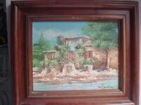 ancien tableau huile sur toile signé 37 cm x 32 cm représentant un moulin