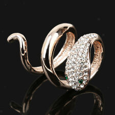Scarf Clip Holder Ring Jewelry Gift Women Gold Plated Crystal Snake Silk