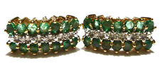 "DESIGNER ""FSX"" GREAT 10K YELLOW GOLD EMERALD & DIAMOND WOMENS EARRINGS 5/8"""