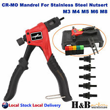 Nutsert Tool Kit Rivnut Rivet Nut Gun M3 - M8 Carry Case Single Hand SS Steel Al
