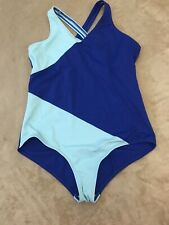Lands End Blue Woman's One Piece Swimsuit Swim 14 + Great Condition