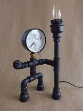 Pipe art lamp steampunk lamp wooden base warrior industrial table loft lamp