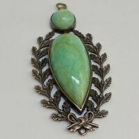 Vintage Sterling Silver 925 Green Turquoise Pendant