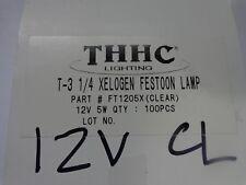 THHC Lighting T-3 1/4 Xelogen Festoon Lamp Clear FT1205X 12v 5w Lot of 10