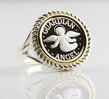 .999 PURE SILVER Guardian Angel Coin Two-Tone S/S + 14kt Gold Ring sizes 5 - 8.5