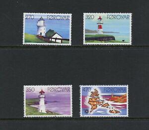 C348  Faroe Islands  1985   lighthouses   4v.   MNH