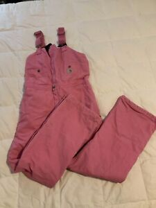 """Carhartt Women's Pink Breast Cancer Coveralls Overalls Size 6 Inseam 30"""""""