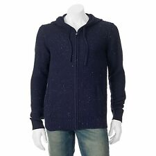 Marc Anthony Slim Fit Navy Blue Hoodie Sweater Full Zip Mens L Large NEW $100