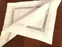 """VINTAGE Needlework Drawn / Pulled Thread White Linen Table Centre Cloth 16x19"""""""