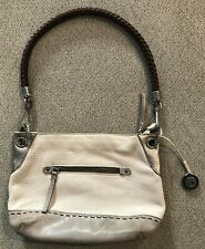 "Women's THE SAK Beige Gray Leather Shoulder Bag Purse Handbag 12"". x 9"""