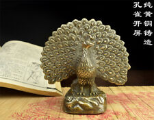 China antique handmade fengshui lucky bronze Peacock statue