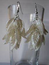 Drop / Dangle Earrings - Cream Pearly Leaves Cluster - Silver Plated