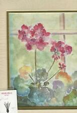 GARDEN RED GERANIUM FLOWERS IMPRESSIONISM MATTED ARTIST ORIGINAL ART PRINT