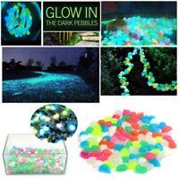 100 Glow in the Dark Pebbles Stones Beads Garden Fish Tank Aquarium Vases Decor