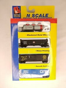VINTAGE 1993, LIFE-LIKE N SCALE TRAINS FAST FREIGHT 4-PACK TANKER GONDOLA BOXCAR