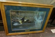 "Hayden Lambson Signed/Numbered/Framed Eagle Print Fly Fishing 208/3500 34""x26"""