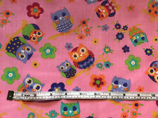 2 metre Polycotton Fabric Pink Country Owls Last Ones!