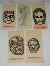 VTG 1960'S MONSTER PREMIUM GIVE AWAY PROMOTIONAL IRON ON TRANSFER SET OF 5 NICE