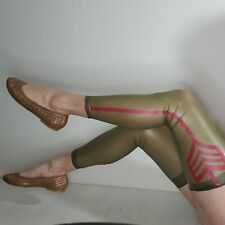 Libidex Transparent Olive Green Red Footless Stockings / Over Knee Socks Size L