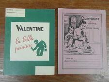2 x PROTEGE CAHIERS PUBLICITAIRES ANCIENS (BUVARD) QUINTONINE PEINTURE VALENTINE