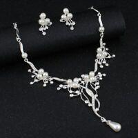 Set Halskette Ohrringe Schmuckset Braut Collier Perlen Strass Ohrstecker Hochzei