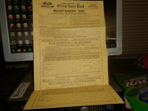 1972 NASCAR IRP (Ona, WV) Mountaineer 300 GN East Entry Blank
