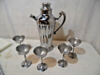 6 Piece Set Vintage Wine Pitcher Server Cooler With 5 Chrome Cups Glass Goblet