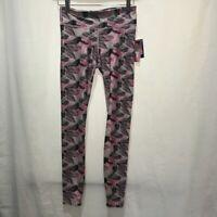 JoyLab Womens Leggings Pants Pink Stretch Garden Leaves Elastic Waist XS New