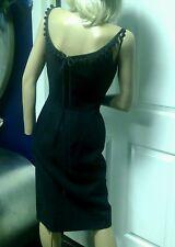 Vintage Anne Fogarty Dress 50's 60's Wiggle Bombshell Black Linen Small