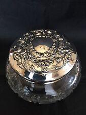 Gorham Sterling Top Cut Glass Delux Powder Jar