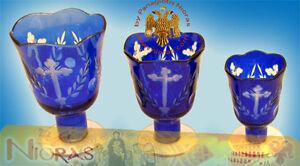 Orthodox Vigil Lamp Standing Leg Cross Carvings Blue Glass Ikonenampel Öllicht