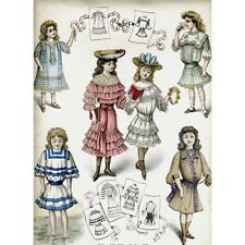 "Antique French Fashion Print, ""Dresses for Young Girls"",  Signed Dalbret, 1903"