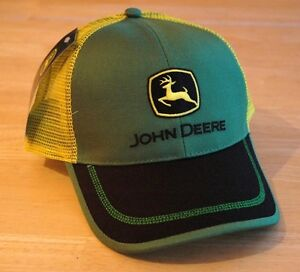 John Deere Green Front Yellow Mesh Back Hat Cap w/ Black Bill Contrast Stitching
