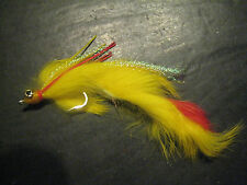 6 Salt Water Bug Eye Leech Zonker # 3/0 Yellow Premium Brookside Fishing Flies