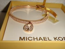 MICHAEL KORS Women's Rose Gold Bangle Bracelet Padlock Crystals MKJ5973791 + BOX