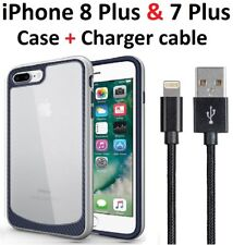Silver case cover iPhone 8 Plus 7 Plus + Charger Charging Cord Cable 3