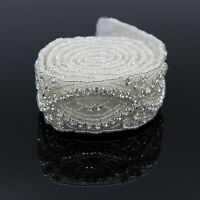 Crystal Rhinestone Trim Chain Appliques for Wedding Dress Sash Belts 1 Yard DIY