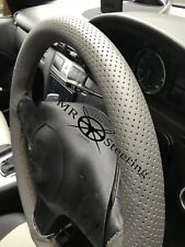 FOR MERCEDES VITO 2 GREY PERFORATED LEATHER STEERING WHEEL COVER BROWN DOUBLE ST