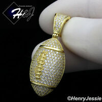 MEN 925 STERLING SILVER LAB DIAMOND GOLD ICED BLING 3D FOOTBALL PENDANT*GP205