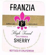 1940s California Ripon Franzia Bros FRANZIA HIGH TONED SHERRY WINE label