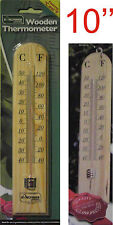 "New Wooden Garden Thermometer 10"" Fahrenheit Centigrade Sheds Garages In/Outdoor"